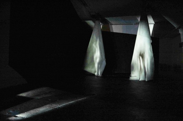 Installation view: Projections, cloth, black paint
