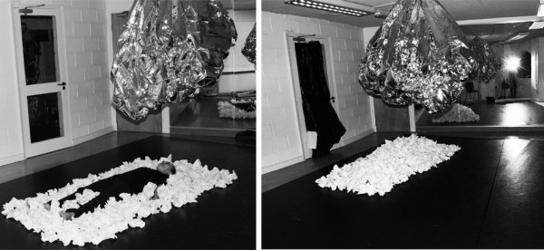 Installation view of open inquiry, presented as a live performance at Firkin Crane, 2014, crushed white paper, sheets of foil, dancer Inma Pavon